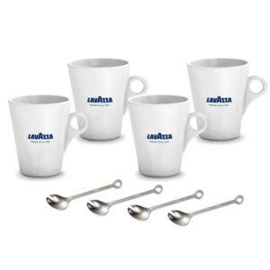 quattro tazze Mug Lavazza e quattro cucchiaini in acciaio inossidabile per cappuccino