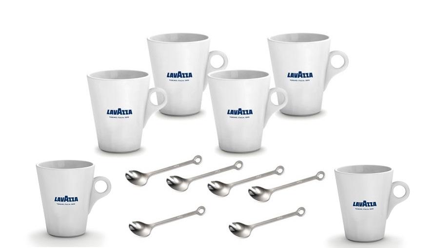 6 mugs Lavazza, 6 cucchiaino Lavazza