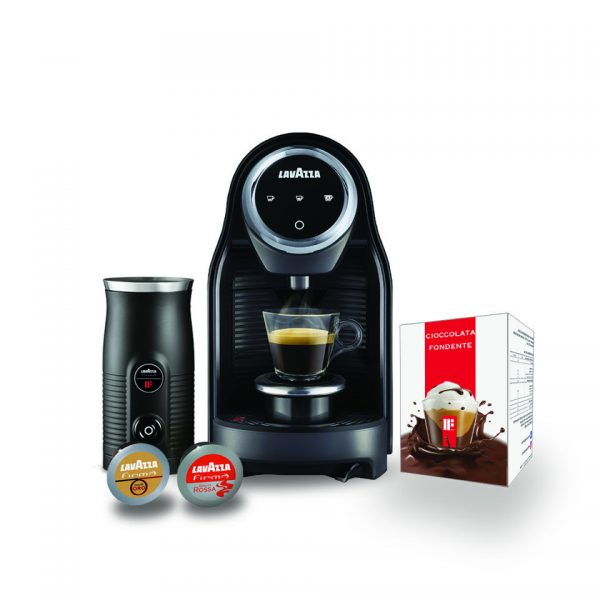 Lavazza Black Friday - Inovy Compact + MilkEasy cioccolatiera, cappuccinatore -96 capsule con kit Cioccolata